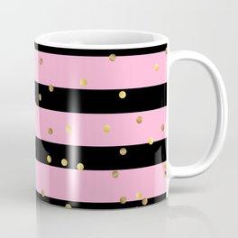 Christmas Golden confetti on Black and Pink Stripes Coffee Mug