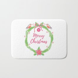 "Watercolor Holly Wreath ""Merry Christmas"" Bath Mat"