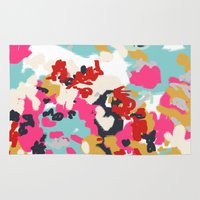 cello Area & Throw Rugs featuring Inez - Modern Abstract painting in bold colors for trendy modern feminine gifts ideas  by CharlotteWinter