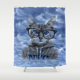 NY Cat and Blue Sky Shower Curtain