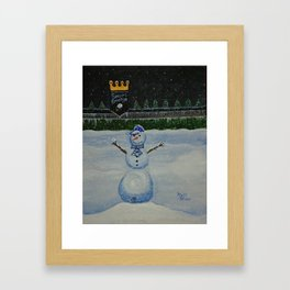 Snowman On the Hill at the K Framed Art Print