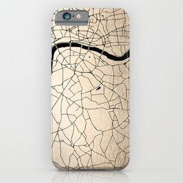 London Gold on Black Street Map II iPhone Case