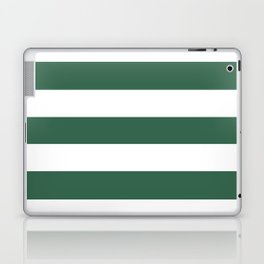 Poker Green - solid color - white stripes pattern Laptop & iPad Skin