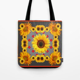 Western Blanket Style Sunflowers Grey Art Tote Bag