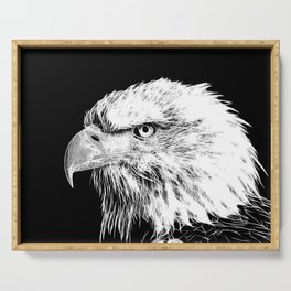 bald eagle 03 neon lines white Serving Tray