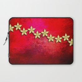Spectacular gold flowers in red and black grunge texture Laptop Sleeve