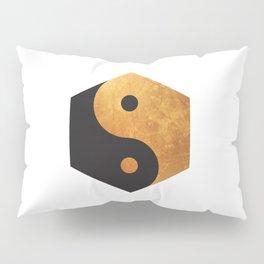 Yin Yang Geometrical Zen Meditation Yoga Gold Black Balance Minimalist   Pillow Sham