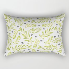 Watercolor Olive Branches Pattern Rectangular Pillow