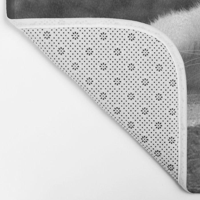 Cat in black & white Bath Mat