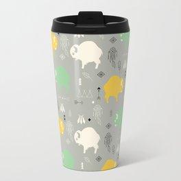 Seamless pattern with cute baby buffaloes and native American symbols, gray Travel Mug