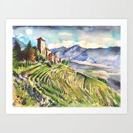 Castle, Mountain, vineyards, scenery, Italy, Austria, Alps, Lebenberg, watercolor, realistic, nature Art Print