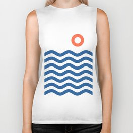 Nautical 02 Seascape Biker Tank