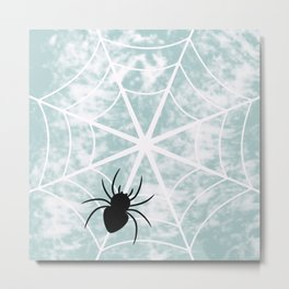 Spiderweb on a cloudy day Metal Print