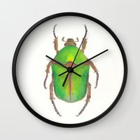 beetle Wall Clocks featuring Beetle by Jen Eva