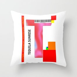"Cocktail ""T"" - Tequila Sunrise Throw Pillow"