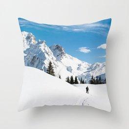 mountains, snow, skier, path, snowy Throw Pillow