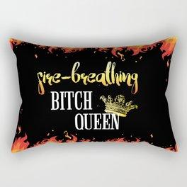 Fire Breathing Bitch Queen Design Rectangular Pillow
