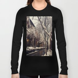 Photo of the beautiful Brooklyn Heights covered in icy snow Long Sleeve T-shirt