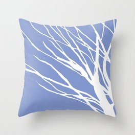Tree Silhouette Periwinkle Blues Throw Pillow