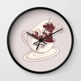 The Great Wave of Cafe Latte Coffee Caffeine Espresso Hokusai Kanagawa Wall Clock