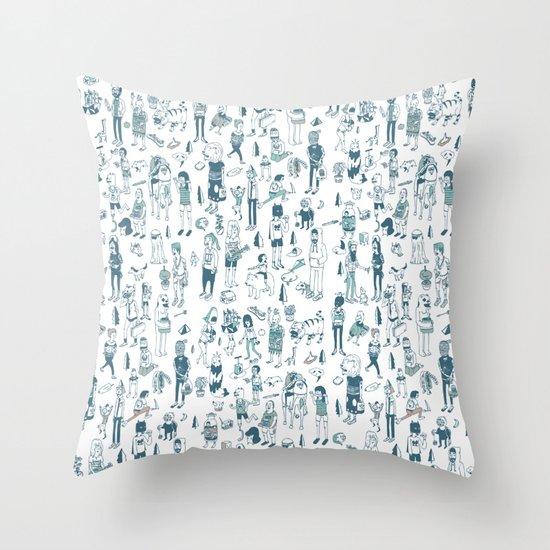 Crowd Pattern Throw Pillow