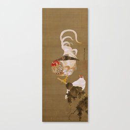 Hen and Rooster with Grapevine Canvas Print
