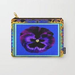 Black & Purple Pansy Abstract Blue and Gold Patterns Carry-All Pouch