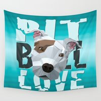 pit bull Wall Tapestries featuring Pit Bull by Benjamin Ring