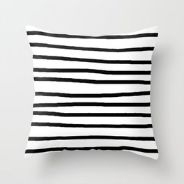 Simply Drawn Stripes in Midnight Black Throw Pillow