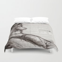 From (Vom) - Charcoal on Newspaper Figure Drawing Duvet Cover