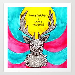 Watercolor Art | Christmas Reindeer Art Print