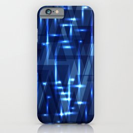 Glowing night geometry of dark blue cosmic stripes and extreme lines. iPhone Case