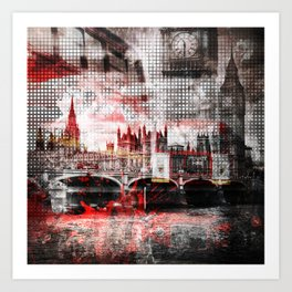 Graphic Art LONDON Red Bus Composing Art Print