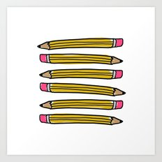 Back to School Pencils Art Print