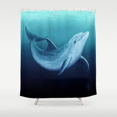 Riversoul Blue ~ Dolphin Art by Amber Marine Shower Curtain