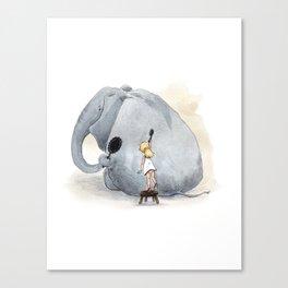 Brushing Elephant Canvas Print
