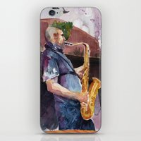 saxophone iPhone & iPod Skins featuring Playing saxophone by aurora villaviejas