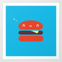 burger Art Prints featuring BURGER by Wet Pet