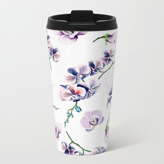 Lavender Blossom Floral Pattern Metal Travel Mug
