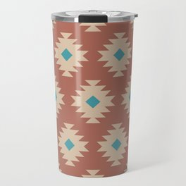 Southwestern Pattern 460 Beige Brown and Turquoise Travel Mug
