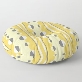 Circles and Stripes in Mustard Yellow and Gray Floor Pillow