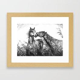 Kiss_Charcoal drawing Framed Art Print