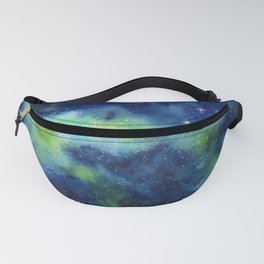 Blue and Green Night Sky Watercolor Fanny Pack