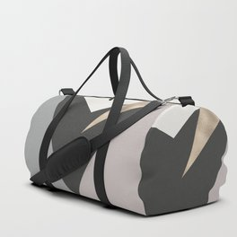 Abstract geometrical faux gold black gray triangles pattern Duffle Bag
