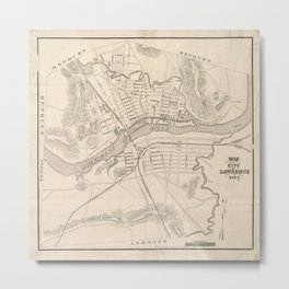 Vintage Lawrence MA Map (1859) Metal Print