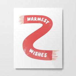 Warmest Wishes Winter Scarf Metal Print