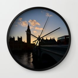 London Sunset Silhouette Wall Clock