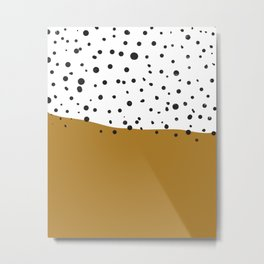 Stamped spots in black and white and gold Metal Print