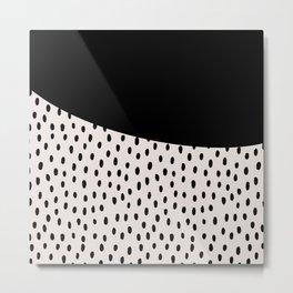 Modern geometrical black ivory paint  brushstrokes Metal Print