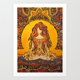Meditation woman Art Print